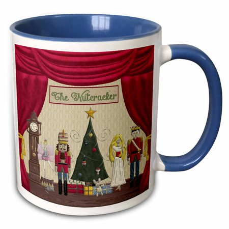 3dRose Nutcracker Prince, Sugar Plum Fairy, Mouse King, Snow Queen, Clock - Two Tone Blue Mug, 15-ounce - Sugar Plum Fairy Dress