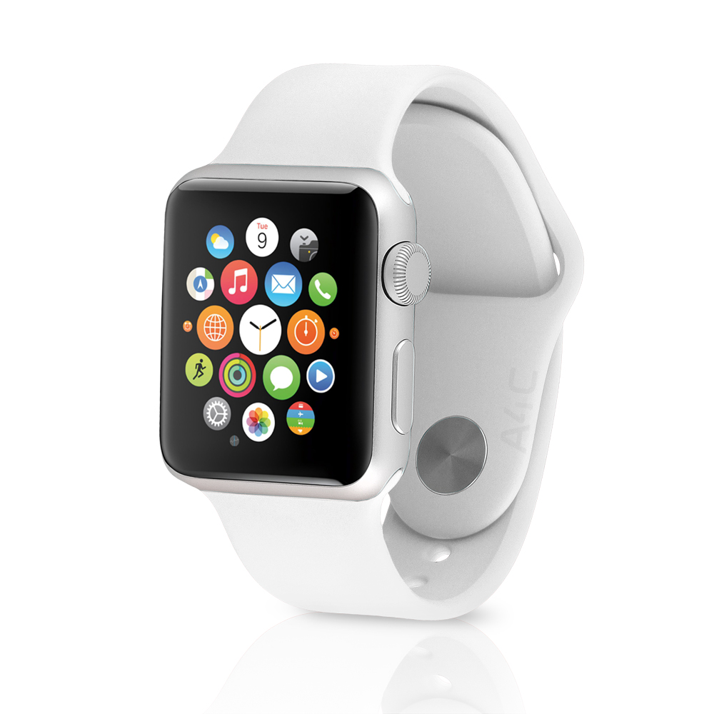 Watch Sport Smartwatch (38mm, Silver Aluminum, White Band...