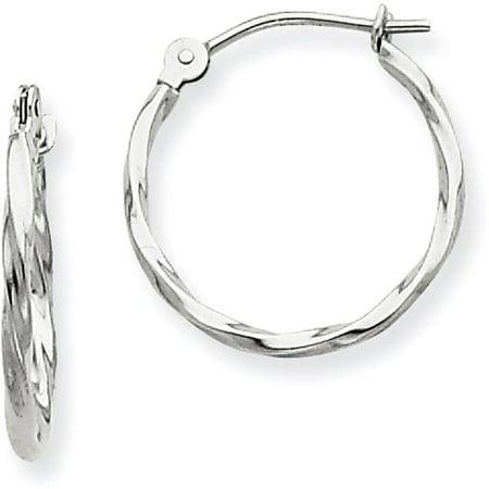 14 Karat White Gold Twisted Hoop Earrings