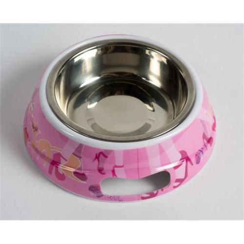 Petego Fabulous Feline Pink Handle Bowl Small with Stainless Steel Insert (9oz.)