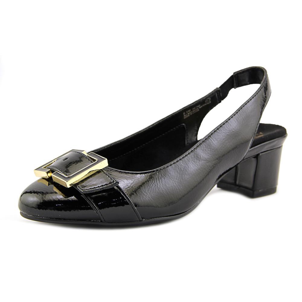 Aerosoles Ink Pad Women Round Toe Patent Leather Black Slingback Heel by Aerosoles