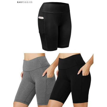 BadPiggies Women's High Waist Workout Yoga Shorts Running Compression Pants With Side Pockets Tummy Control (L, Black)