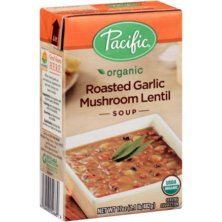 (2 Pack) Pacific Organic Roasted Garlic Mushroom Lentil Soup, 17 oz