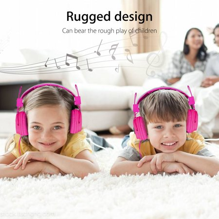 EEEKit Kids Over Wired Ear Headphone, School Child Foldable Corded On Ear Headsets Earphones with Microphone for Samsung Tablet and Other Devices