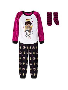 AME Girls' Harry Potter 2pc Pajama Set with Sock - Purple/White/Black XS