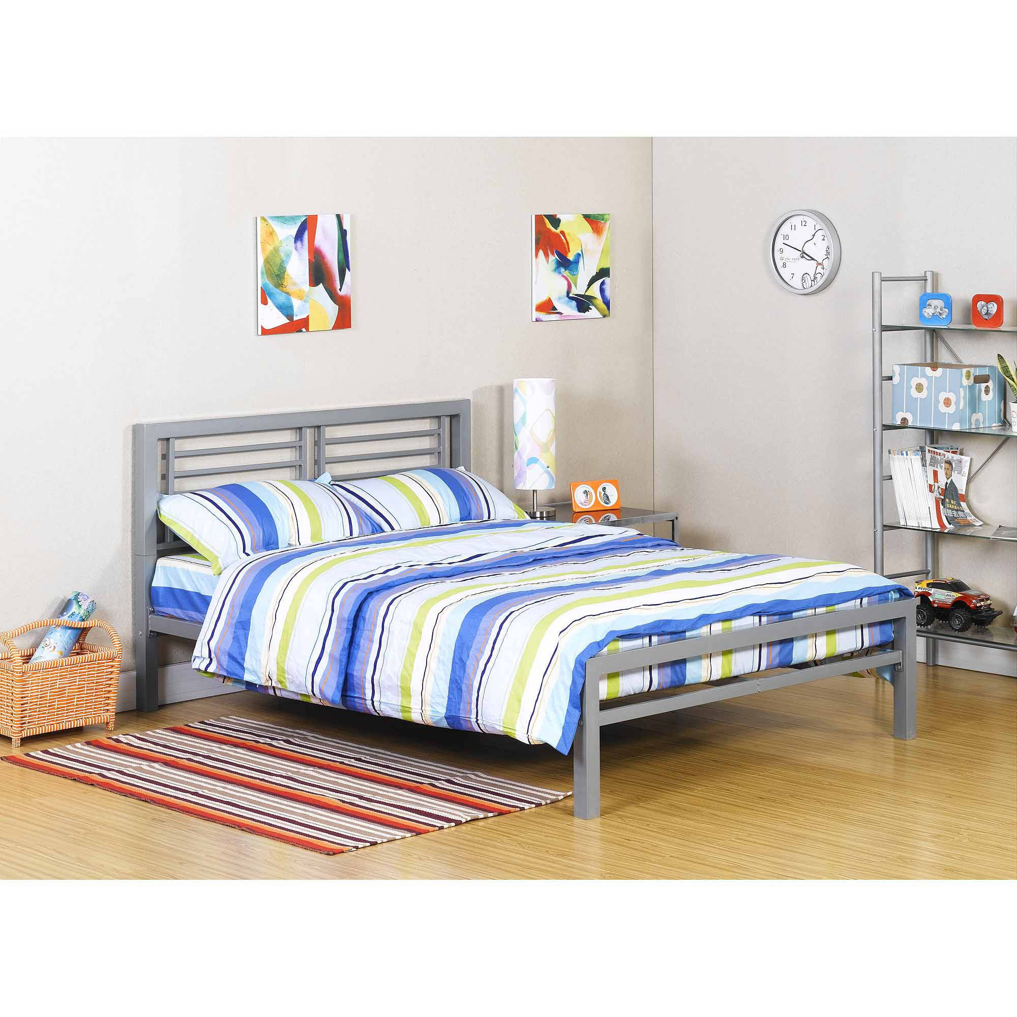 Black Metal Twin Bed Roll Out Trundle Frame Walmartcom