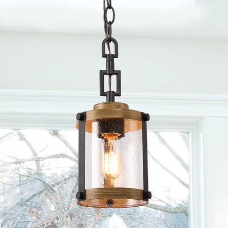 LNC 1 Light Hanging Foyer Black Pendant Light Fixture in Distressed Black Metal & Faux Wood Finish Pendant Light for Outdoor Patio, Farmhouse Rustic Pendant Light Fixture for Kitchen/Dining Room ()