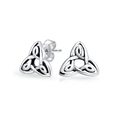 Tiny Irish Triquetra Celtic Trinity Knot Tiny Stud Earrings For Women For Men Oxidized 925 Sterling -