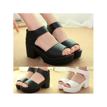 89df8e9ff67 Women Summer Open Toe Platform High Heel Gladiator Sandals Chunky Shoes  Pure Color - Walmart.com