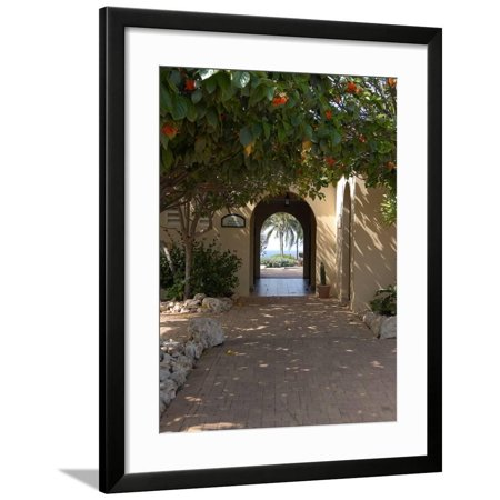 Archway to Pool at Tierra del Sol Golf Club and Spa, Aruba, Caribbean Framed Print Wall Art By Lisa S. Engelbrecht