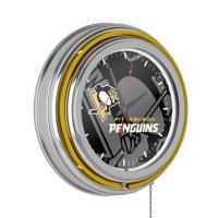 NHL Chrome Double Rung Neon Clock - Watermark - Pittsburgh Penguins�