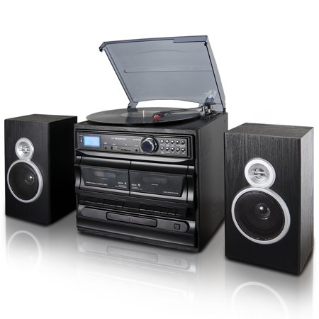 Shelf Rack Cassette - Trexonic 3-Speed Turntable With CD Player, Dual Cassette Player, BT, FM Radio & USB/SD Recording and Wired Shelf Speakers