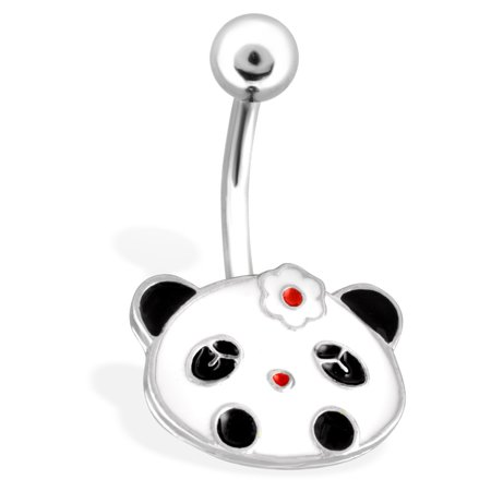 - Panda Face With Flower Hair Pin Surgical Steel Navel Ring