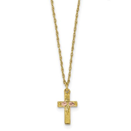 10k Tri Color Black Hills Gold Cross Religious Chain Necklace Pendant Charm Crucifix Gifts For Women For Her