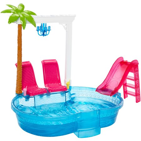 Barbie Glam Pool with Water Slide & Pool Accessories