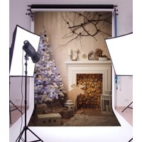 GreenDecor Polyester 5x7ft Christmas Photography Backdrop Tree Decorations Fairy Lights Fireplace Gift Box Wooden Reindeer White Blanket Scene Photo Background Children Baby Adults Portraits Backdrop