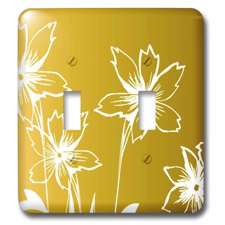 3dRose Pretty White Line Flowers On A Gradient Yellow Background Doubl