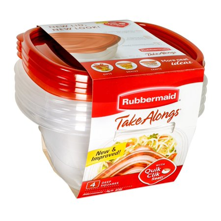 Rubbermaid Take Alongs Deep Square 4 Container Food Storage Set