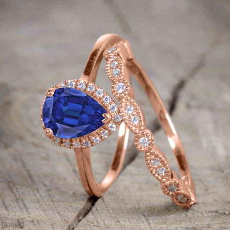 Beautiful 2 Carat Pear cut Real Sapphire and Cubic Halo Wedding Ring Set in Silver with Rose Gold Plating