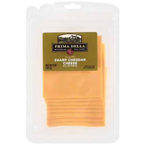 Prima Della Sliced Sharp Cheddar Cheese, 8 oz