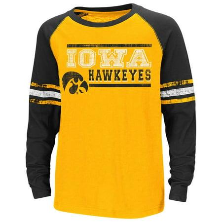 Iowa Hawkeyes Youth NCAA Marble Raglan Long Sleeve T-Shirt  - Team Color