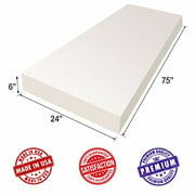 """Upholstery Foam Cushion Sheet- 6""""x24""""x75""""-High Density Support-Premium Luxury Quality- Good for Sofa Cushion, Mattresses, Wheelchair, Poker Table, and Much More- Dream Solutions USA"""