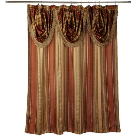 Popular Bath Contempo Spice 70 x 72 Fabric Bathroom Shower Curtain w/ Valence