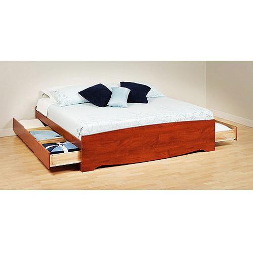 Prepac Edenvale King Platform Storage Bed, Cherry