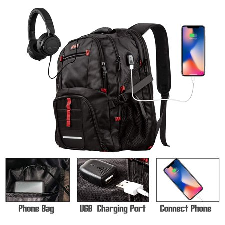 Anglers Business Bags (OPACK Extra Large Backpack, TSA Friendly Durable Travel Backpack with USB Charging Port/Headphones, Anti Theft&Secure, Water-Resistant Big Business College School Bag Fits 17