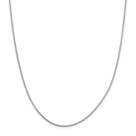 "Solid 925 Sterling Silver 1.7mm Diamond-Cut Round Spiga Chain Necklace 16"" - with Secure Lobster Lock Clasp"