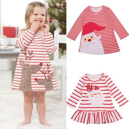 Toddler Kids Baby Girl Strip Xmas Dress Long Sleeves Tops Shirts Outfits Clothes](Christmas Dresses For Children)