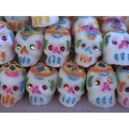 Mexican Skull Art (Day of the Dead, Sugar Skull Candy at Abastos Market, Oaxaca, Mexico Print Wall Art By Judith Haden )