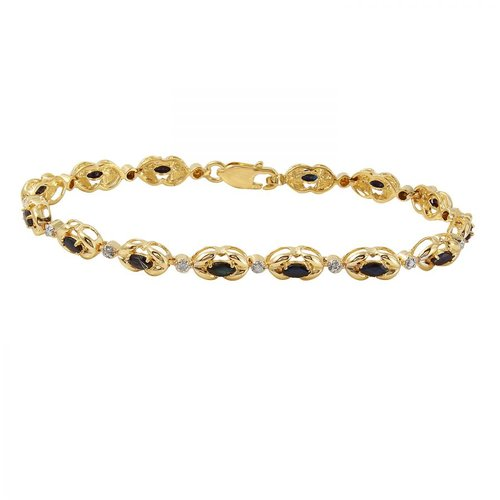 Foreli 1.71CTW Sapphire And Diamond 14K Yellow Gold Bracelet by Generic