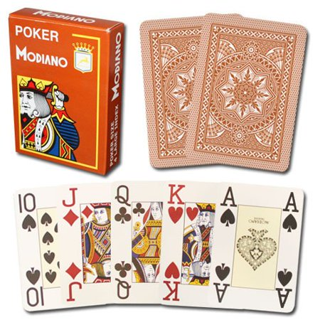 100% Plastic Playing Cards Brown Cristallo 4 PIP JUMBO INDEX, Single Deck of Cards - Sealed By - Modiano 100% Plastic Italian