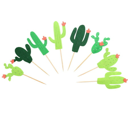 24PCS Cake Topper,Kapmore Decorative Hawaiian Theme Cactus Shape Cupcake Topper Food Pick Party Decor Topper