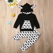 Toddler Kid Baby Boy Girl Kids Autumn Winter Warm Clothes Hoodies Tops Dog Print Sweatshirt Long Pants Outfit Set