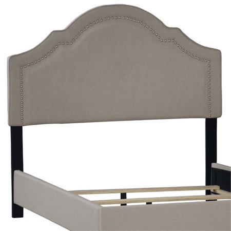 Pemberly Row Upholstered Queen Panel Headboard in Gray ()