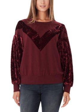 William Rast Womens Hannah  Velvet Colorblock Sweatshirt