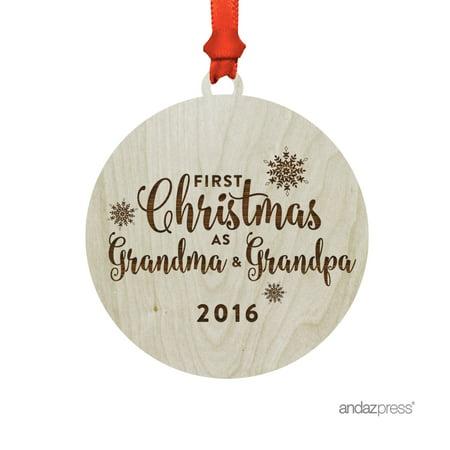 Laser Engraved Wood Christmas Ornament with Gift Bag, First Christmas as Grandma & Grandpa 2017