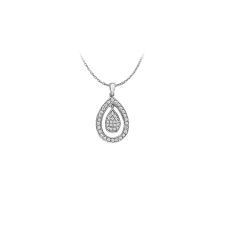 Cubic Zirconia Teardrop Pendant in 14K White Gold 0.33 CT TGWPerfect Jewelry Gift for Women - image 4 de 4