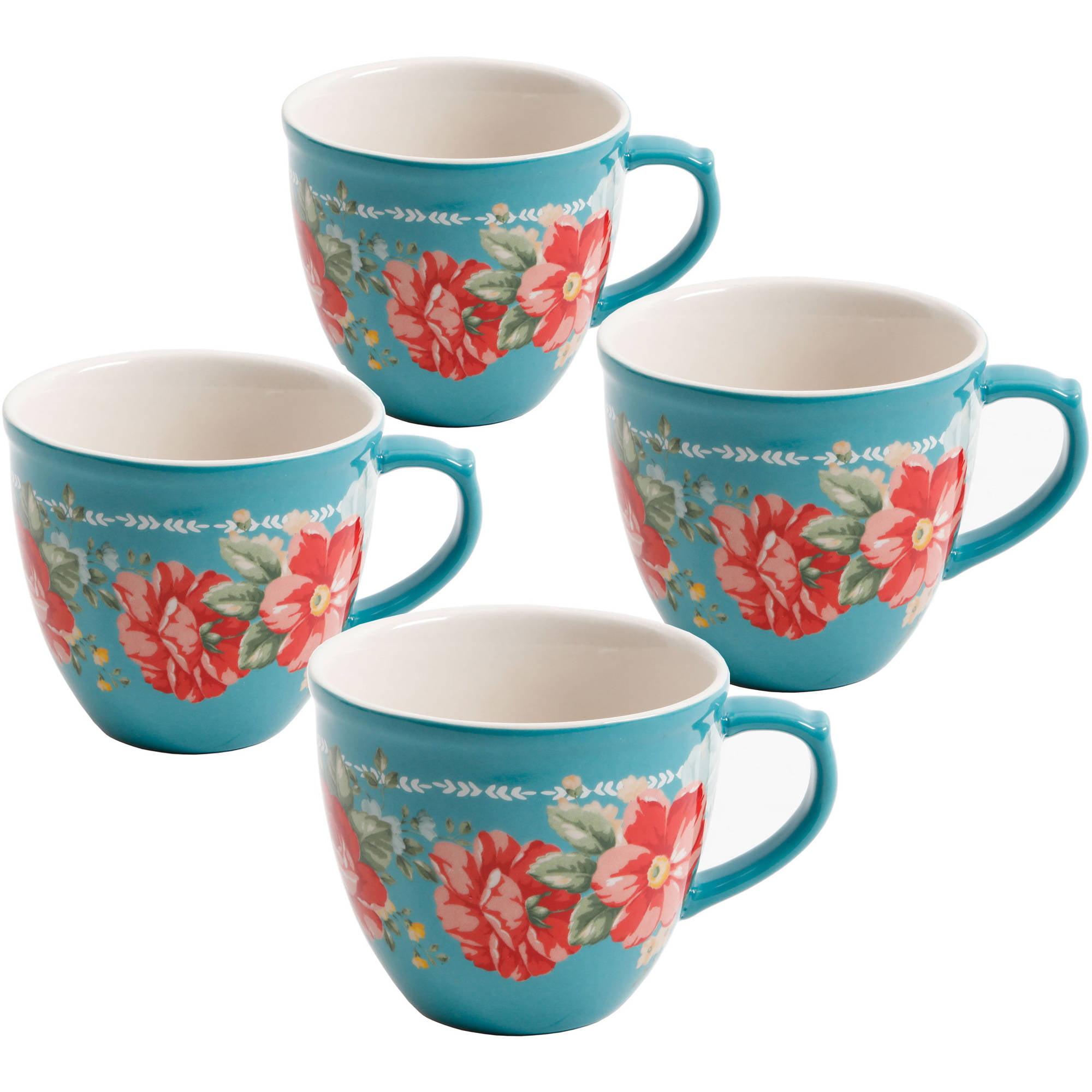 The Pioneer Woman Vintage Floral 4 Piece Mug Set 16 Fl Oz Walmart Com Walmart Com