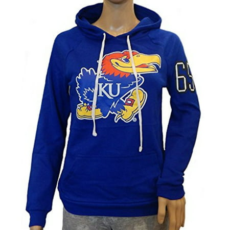 - Kansas Jayhawks Officially Licensed Logo Womens Junior Fit Pullover Hooded Shirt French Terry Hoodie (Medium)