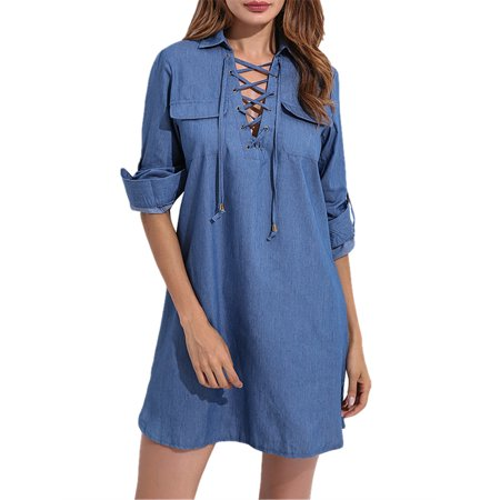 Denim Blue Look Womens V Neck Lace-up Long Tops Blouse Shirt Mini Dresses