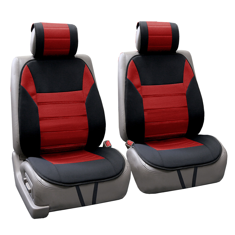 FH Group Ultra Fine Polyester Front Seat Cushions, Pair, Red and Black