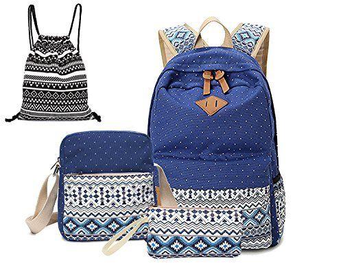 Canvas Dot Backpack Cute Lightweight Teen Girls Backpacks School Shoulder Bags Backpack 4pcs