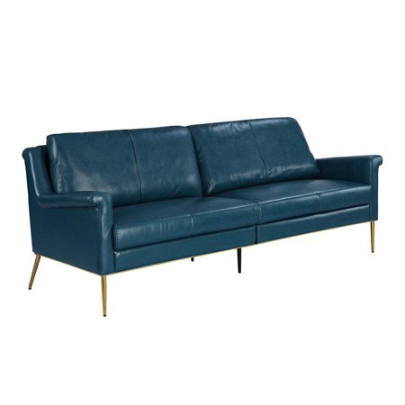 MidCentury Leather Sofa, Living Room Couch (Blue)