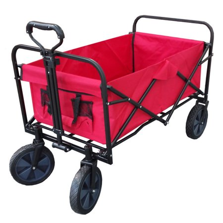XL Foldable Collapsible Garden Trolley Cart Wagon Truck 4 Wheel Pull Along Wheelbarrow RED (Xl Wagon)