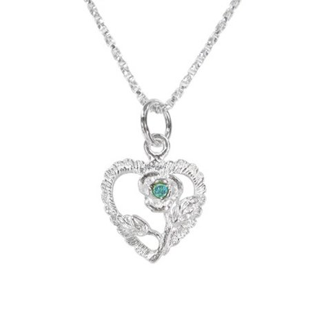 Aqua Pendant Necklace (Sterling Silver Heart Rose Birth Month Crystal Pendant Necklace, March Aqua)