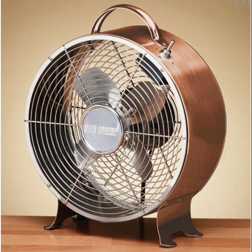 "12.5"" Shiny Copper Vintage Style Metal Table Fan"