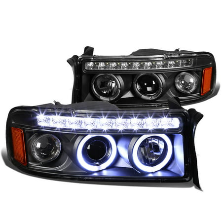 1500 Hd Headlight Housing (For 94 to 01 Dodge Ram LED DRL Strip Dual Halo Ring Projector Headlight Black Housing Amber Corner Headlamp 95 96 97 98 99 00 1500 2500)